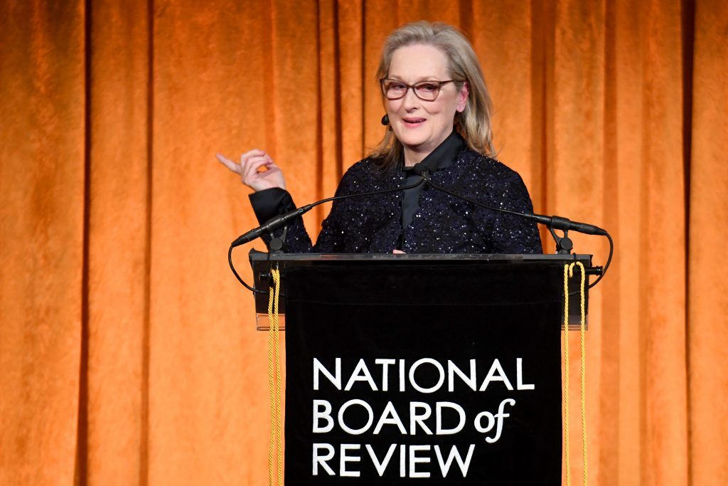 Meryl Streep accepts an award onstage during the National Board of Review Annual Awards Gala at Cipriani 42nd Street on January 9, 2018 in New York City.  (Photo by Dimitrios Kambouris/Getty Images for National Board of Review)