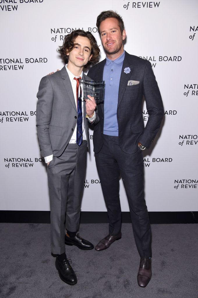 Breakthrough Performance Winner Timothée Chalamet and Armie Hammer attend the National Board of Review Annual Awards Gala at Cipriani 42nd Street on January 9, 2018 in New York City.  (Photo by Jamie McCarthy/Getty Images for National Board of Review)