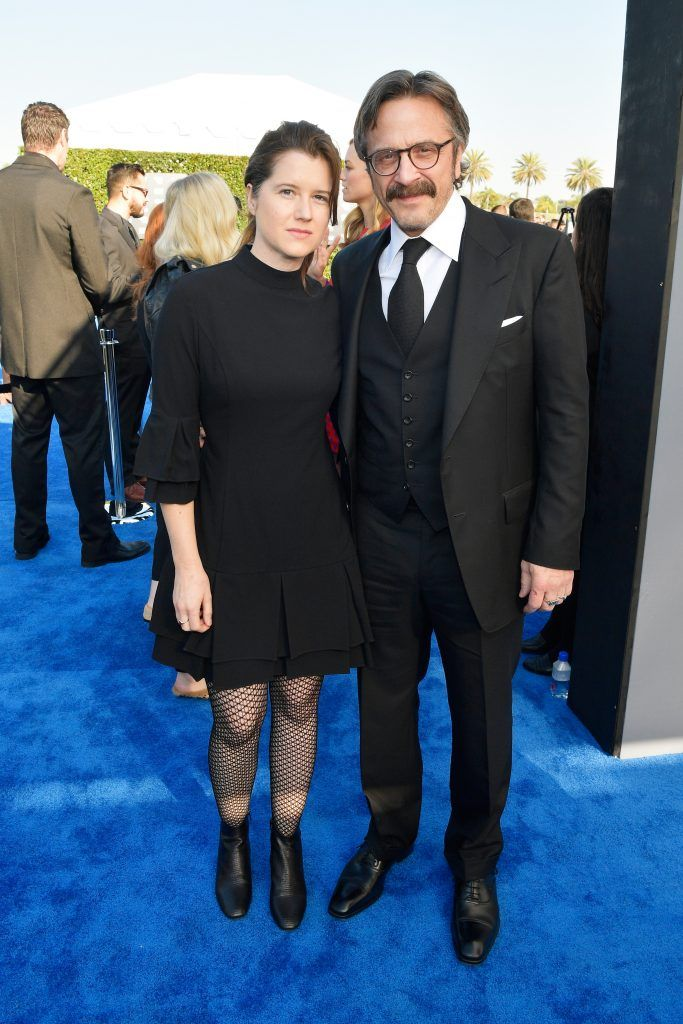 SANTA MONICA, CA - JANUARY 11:  Artist Sarah Cain and actor Marc Maron attend The 23rd Annual Critics' Choice Awards at Barker Hangar on January 11, 2018 in Santa Monica, California.  (Photo by Matt Winkelmeyer/Getty Images for The Critics' Choice Awards  )