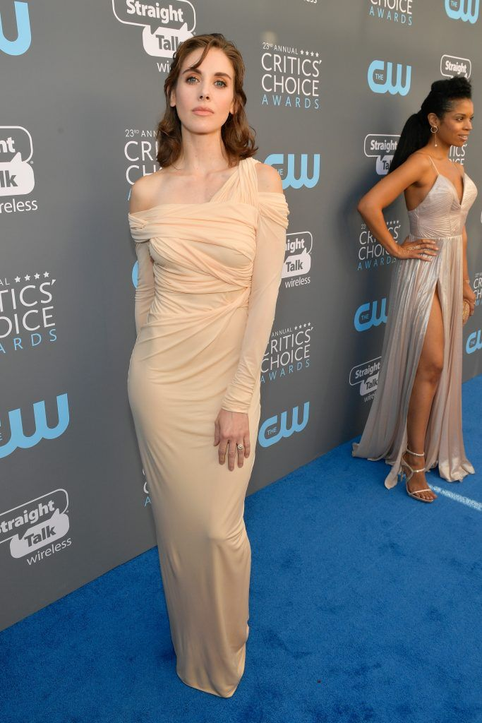 SANTA MONICA, CA - JANUARY 11:  Actor Alison Brie attends The 23rd Annual Critics' Choice Awards at Barker Hangar on January 11, 2018 in Santa Monica, California.  (Photo by Matt Winkelmeyer/Getty Images for The Critics' Choice Awards  )