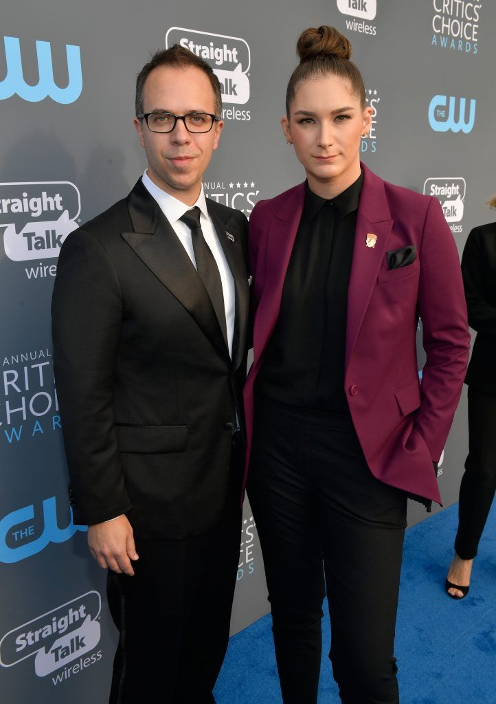 SANTA MONICA, CA - JANUARY 11:  Screenwriter Liz Hannah (R) and Brian Millikin attend The 23rd Annual Critics' Choice Awards at Barker Hangar on January 11, 2018 in Santa Monica, California.  (Photo by Matt Winkelmeyer/Getty Images for The Critics' Choice Awards  )