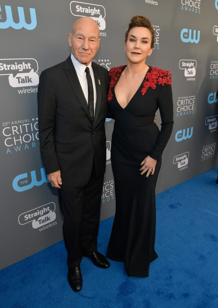 SANTA MONICA, CA - JANUARY 11:  Actor Patrick Stewart and singer Sunny Ozell attend The 23rd Annual Critics' Choice Awards at Barker Hangar on January 11, 2018 in Santa Monica, California.  (Photo by Matt Winkelmeyer/Getty Images for The Critics' Choice Awards  )