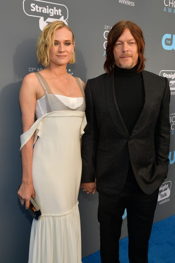 SANTA MONICA, CA - JANUARY 11:  Actors Diane Kruger and Norman Reedus attend The 23rd Annual Critics' Choice Awards at Barker Hangar on January 11, 2018 in Santa Monica, California.  (Photo by Matt Winkelmeyer/Getty Images for The Critics' Choice Awards  )