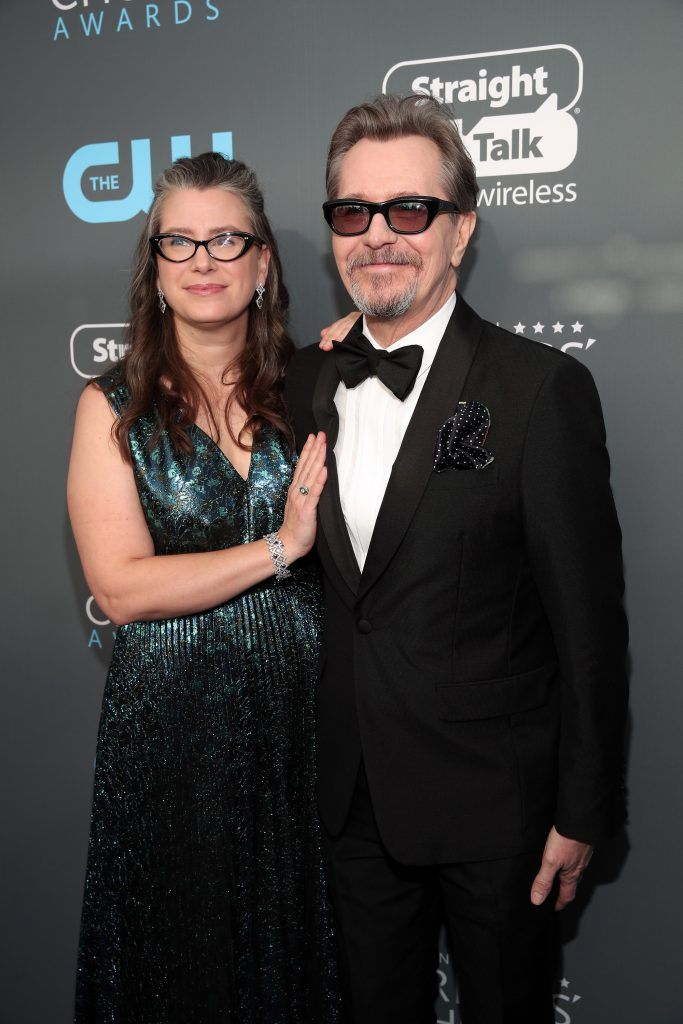 SANTA MONICA, CA - JANUARY 11:  Gisele Schmidt (L) and actor Gary Oldman attend The 23rd Annual Critics' Choice Awards at Barker Hangar on January 11, 2018 in Santa Monica, California.  (Photo by Christopher Polk/Getty Images for The Critics' Choice Awards  )