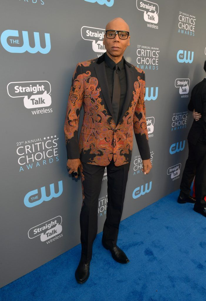 SANTA MONICA, CA - JANUARY 11:  RuPaul attends The 23rd Annual Critics' Choice Awards at Barker Hangar on January 11, 2018 in Santa Monica, California.  (Photo by Matt Winkelmeyer/Getty Images for The Critics' Choice Awards  )
