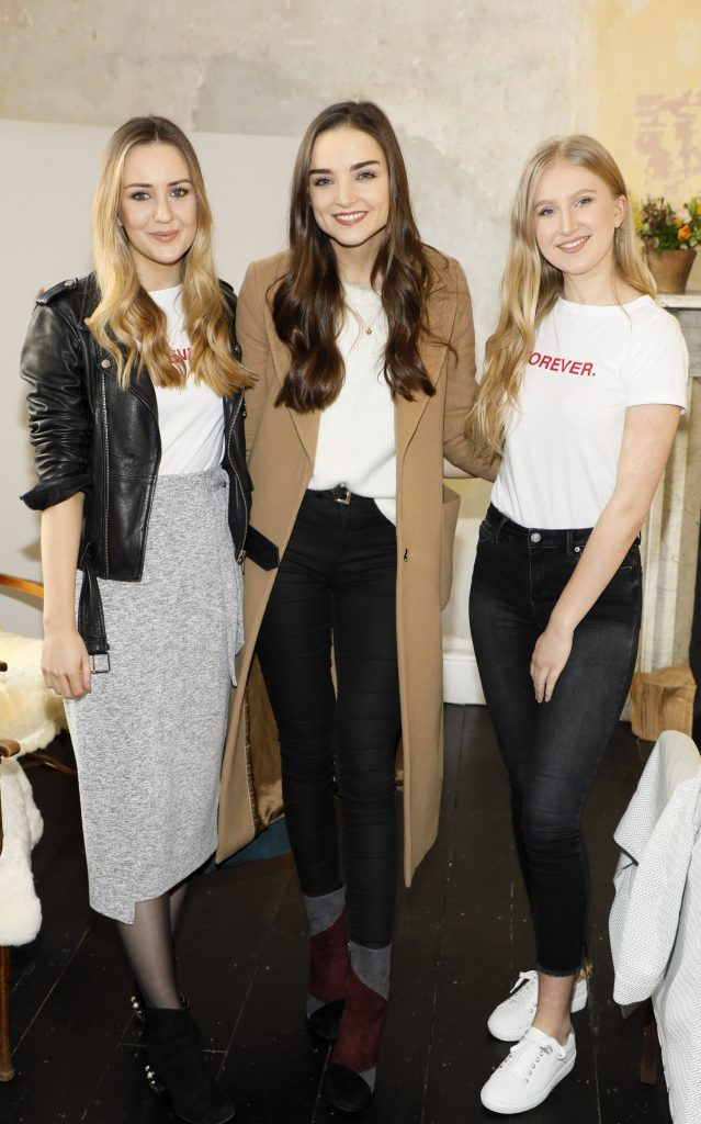 Sadhbh Higgins, Niamh O'Sullivan and Autumn Moore at the launch of Mint Velvet's new Spring/Summer 2018 collection at 23 Leinster Road -photo Kieran Harnett