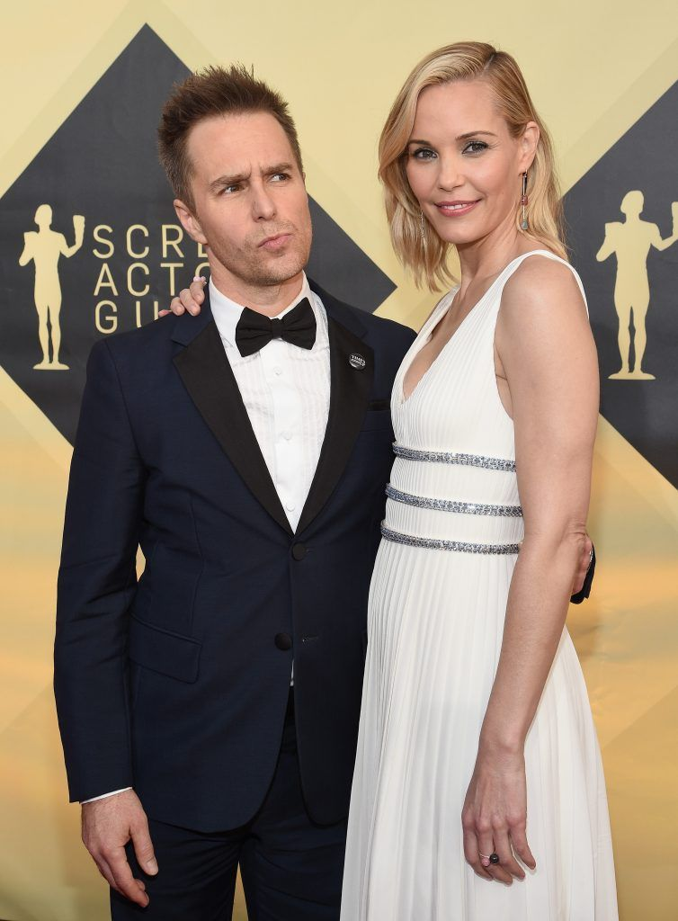 LOS ANGELES, CA - JANUARY 21:  Actors Sam Rockwell and Leslie Bibb attend the 24th Annual Screen Actors Guild Awards at The Shrine Auditorium on January 21, 2018 in Los Angeles, California.  (Photo by Kevork Djansezian/Getty Images)