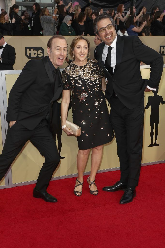 LOS ANGELES, CA - JANUARY 21: (L-R) Actor Bob Odenkirk, Anna Romano and actor Ray Romano attend the 24th Annual Screen Actors Guild Awards at The Shrine Auditorium on January 21, 2018 in Los Angeles, California. 27522_017  (Photo by Frederick M. Brown/Getty Images)