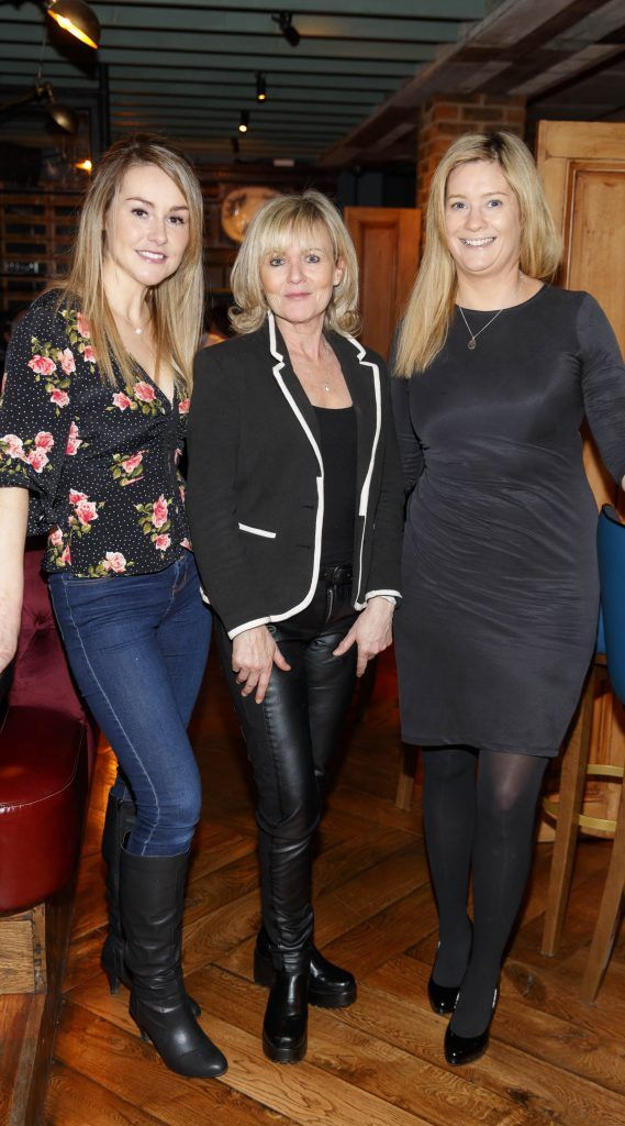 Cathy Bruen, Sharon Keegan and Lisa Gill  at the relaunch of the lounge bar and Boss Crokers snug bar at Sandyford House in Sandyford Village, Dublin 18 (1st February 2018). Picture by Andres Poveda