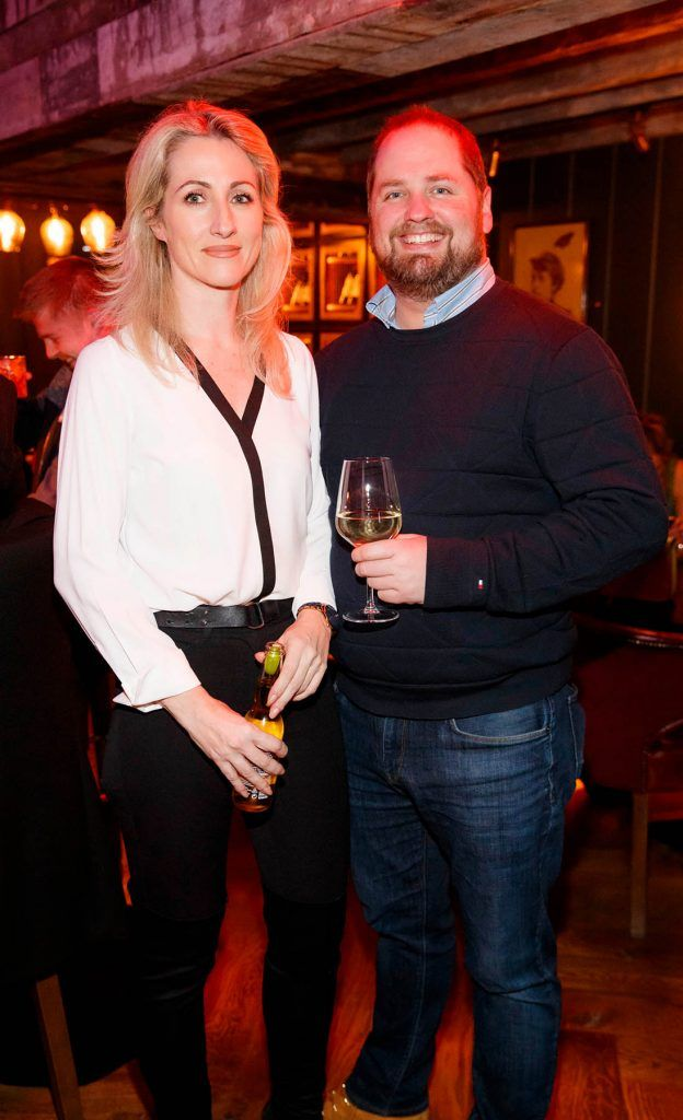 Ursula Heffernan and Chris Moore at the relaunch of the lounge bar and Boss Crokers snug bar at Sandyford House in Sandyford Village, Dublin 18 (1st February 2018). Picture by Andres Poveda