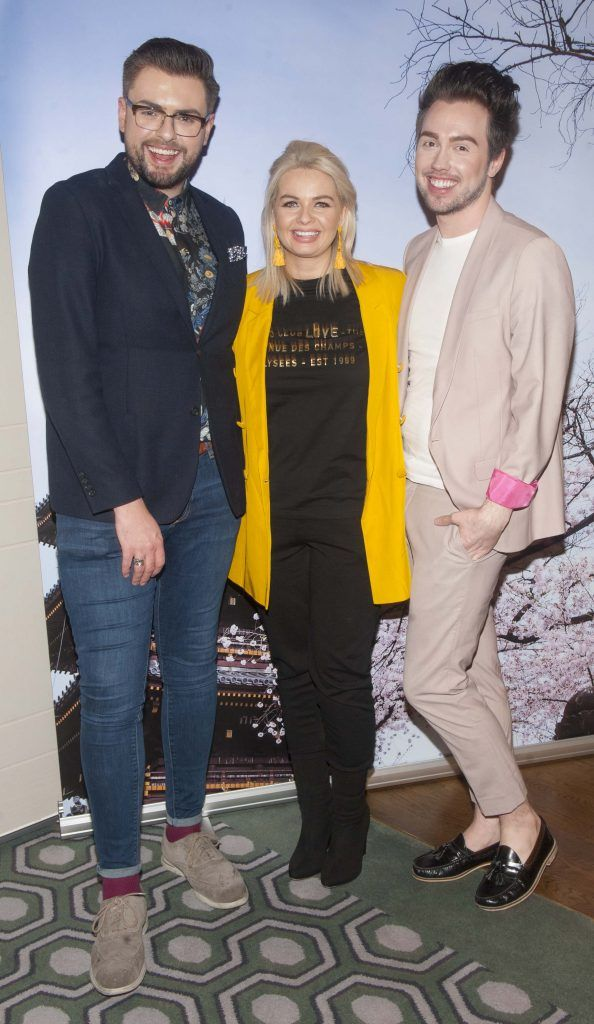 James Butler, Danielle Mahon and Mark Rogers pictured at Gok Wan and Danielle Mahon's launch of their Fashion and Beauty Collective roadshows in the Westbury Hotel, Dublin. Photo: Patrick O'Leary