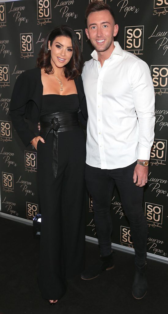 Suzanne Jackson and husband Dylan O Connor at the launch of the SOSU By SJ Lauren Pope Faux Mink Lash Collection at the Cliff Townhouse, Dublin. Photo by Brian McEvoy