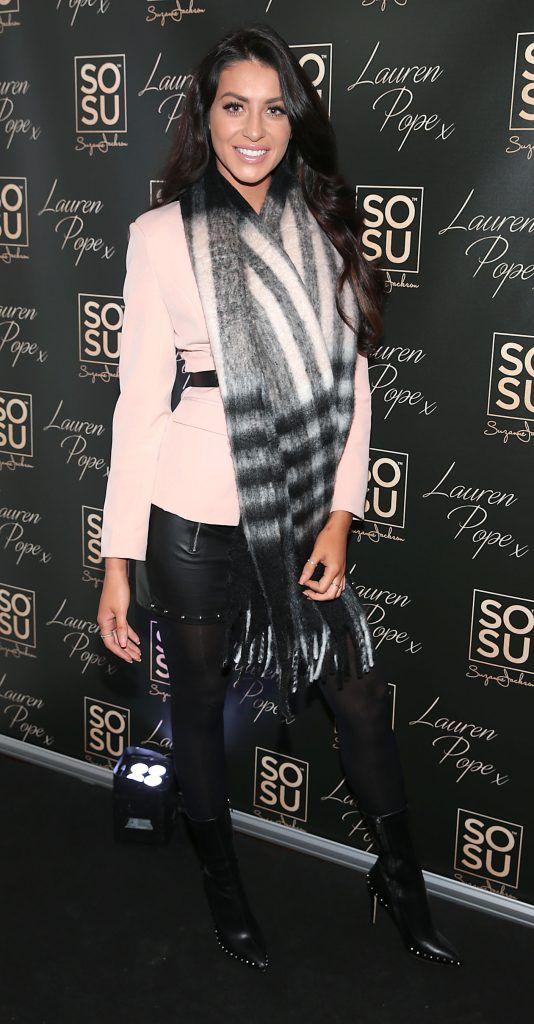 Carla Jackson at the launch of the SOSU By SJ Lauren Pope Faux Mink Lash Collection at the Cliff Townhouse, Dublin. Photo by Brian McEvoy