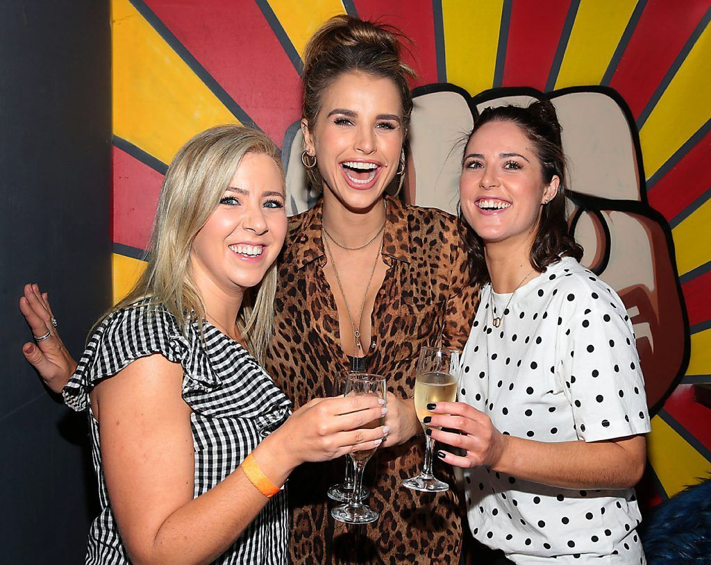 Vogue Williams with friends Clodagh Watson and Sarah Regan  pictured at the opening of new entertainment venue R.I.O.T in Aston Quay, Dublin. Photo by Brian McEvoy