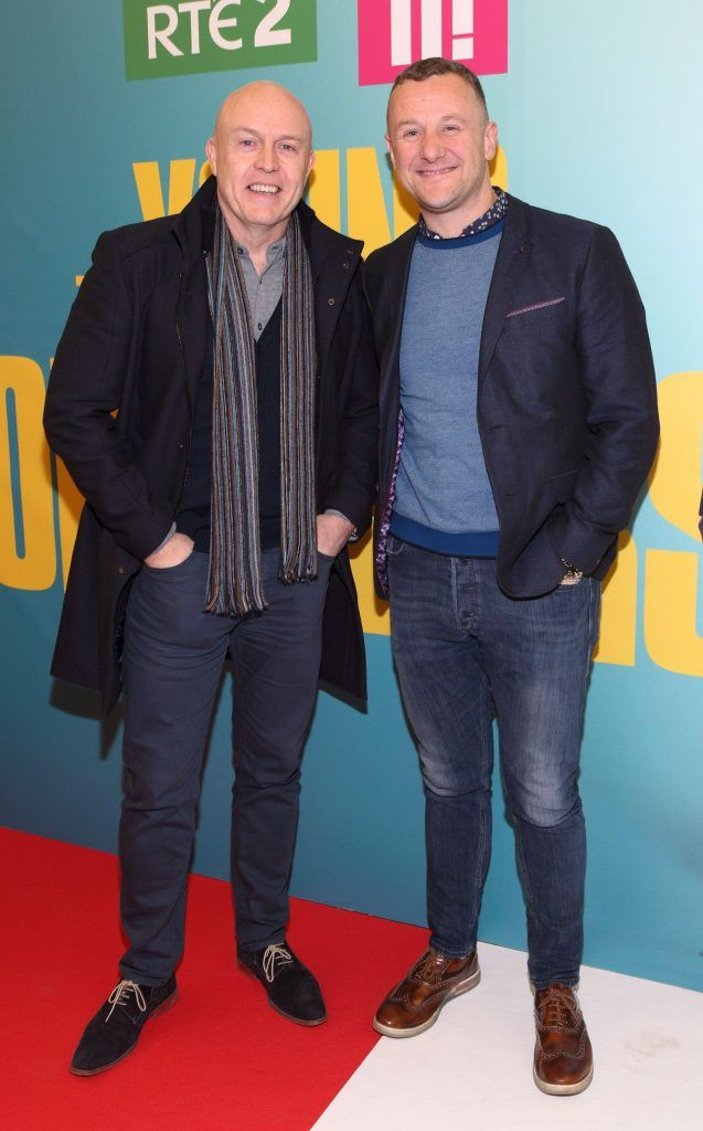 Jim McCabe and PJ Gallagher at the launch of the new Young Offenders television series at the ODEON Cinema in Point Square, Dublin. 'The Young Offenders' debuts on RTE2 on Thursday 8th February at 9.30pm. Photo by Morris Wall