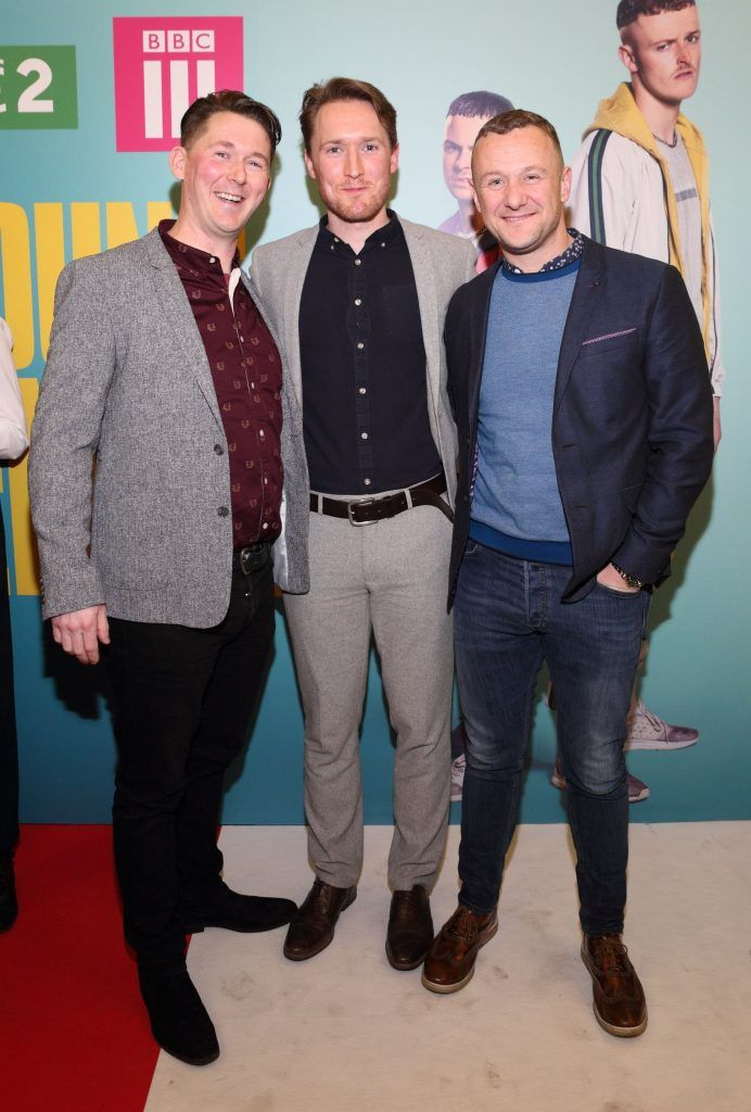 Shane Casey, Dominic MacHale and PJ Gallagher  at the launch of the new Young Offenders television series at the ODEON Cinema in Point Square, Dublin. 'The Young Offenders' debuts on RTE2 on Thursday 8th February at 9.30pm. Photo by Morris Wall
