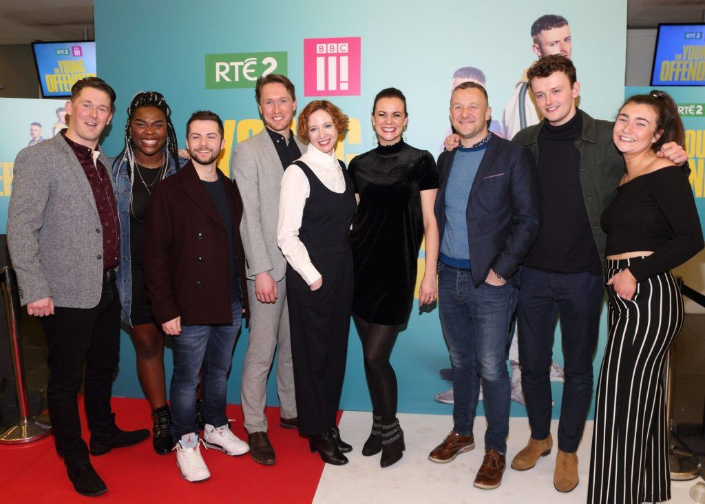 The cast of  Young Offenders television series at the launch of the new television series at the ODEON Cinema in Point Square, Dublin. 'The Young Offenders' debuts on RTE2 on Thursday 8th February at 9.30pm. Photo by Morris Wall