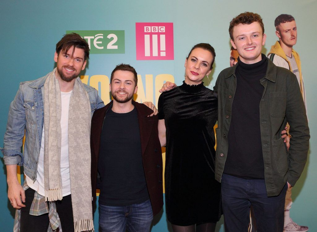 Eoghan McDermott, Alex Murphy, Hilary Rose and Chris Walley at the launch of the new Young Offenders television series at the ODEON Cinema in Point Square, Dublin. 'The Young Offenders' debuts on RTE2 on Thursday 8th February at 9.30pm. Photo by Morris Wall