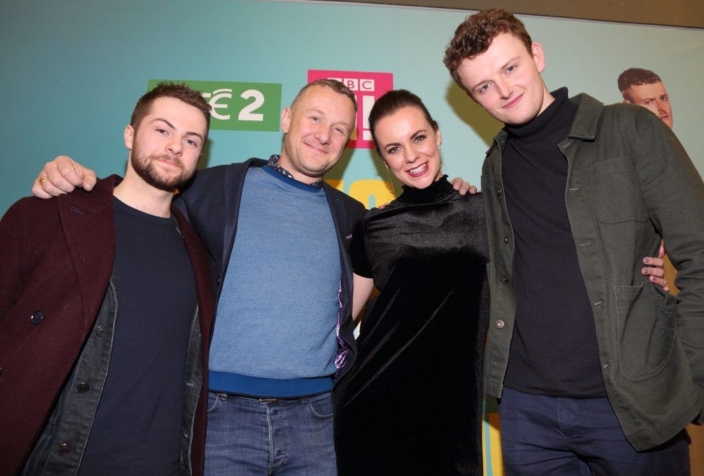 Alex Murphy, PJ Gallagher, Hilary Rose and Chris Walley at the launch of the new Young Offenders television series at the ODEON Cinema in Point Square, Dublin. 'The Young Offenders' debuts on RTE2 on Thursday 8th February at 9.30pm. Photo by Morris Wall
