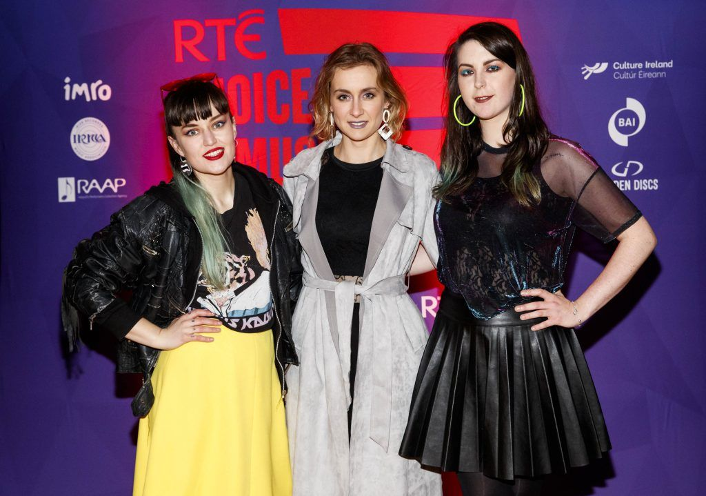 Caoimhe Barry, Karen Cowley and Saoirse Duane of Wyvern Lingo pictured at the RTE Choice Music Prize at Vicar Street, March 8th 2018. Picture by Andres Poveda