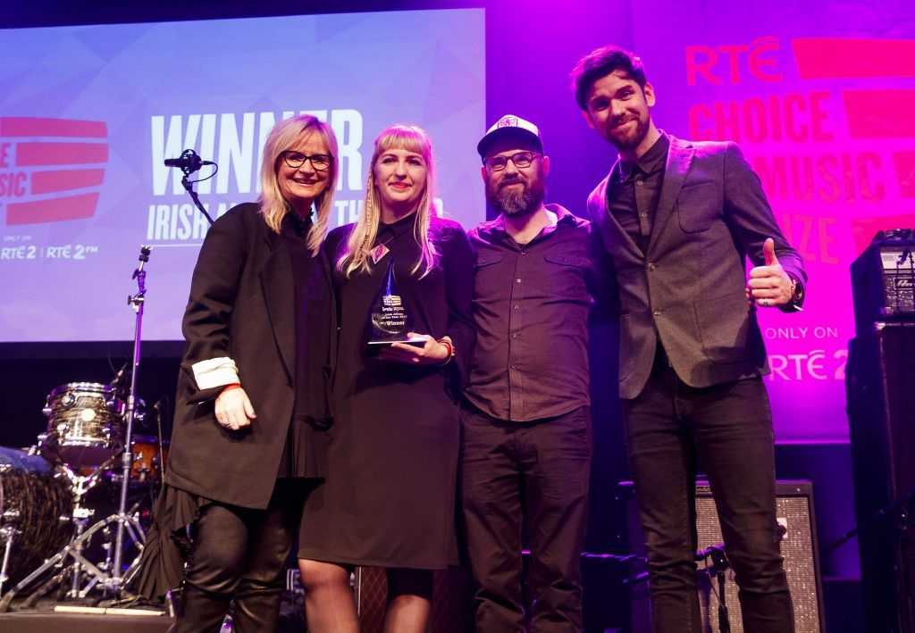 Album of the Year goes to Ships, Sorcha McGrath and Simon Cullen pictured with host Eoghan McDermott at the RTE Choice Music Prize at Vicar Street, March 8th 2018. Picture by Andres Poveda