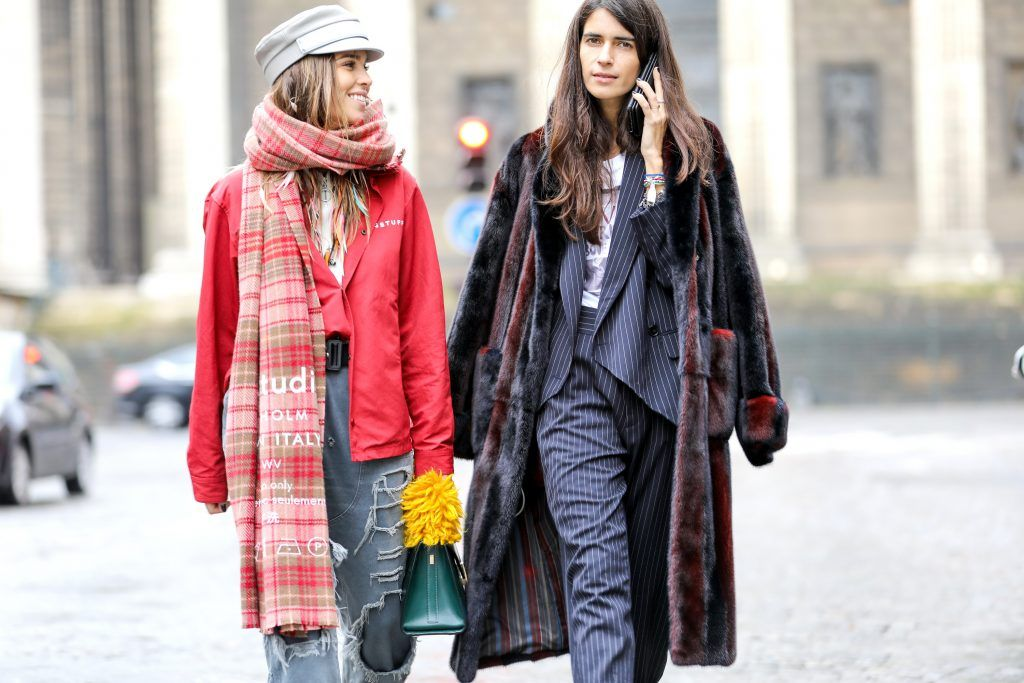 Paris Fashion Week Street style after the Sacai Fall/Winter 2018 Show.  Featuring: Carola Bernard, Chiara Totire Where: Paris, France When: 05 Mar 2018 Credit: Brian Dowling/WENN.com