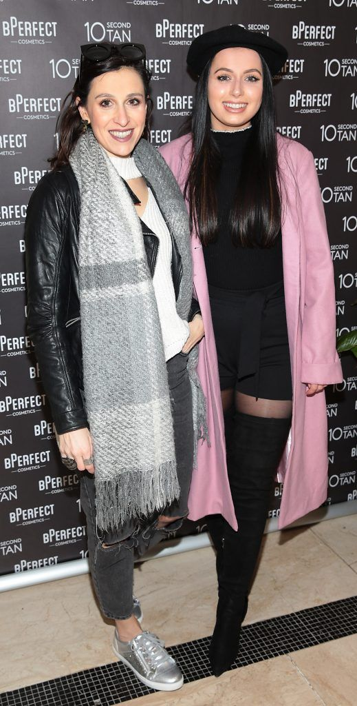 Kassie Cheireorgou and Rachel Martin at the launch of BPerfect Cosmetics 10 Second Tan Mousse in Wilde Restaurant at The Westbury Hotel, Dublin. Photo: Brian McEvoy