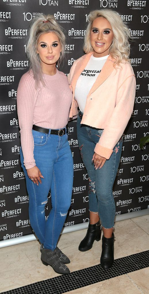 Jodi Roche and Niamh Cleary at the launch of BPerfect Cosmetics 10 Second Tan Mousse in Wilde Restaurant at The Westbury Hotel, Dublin. Photo: Brian McEvoy