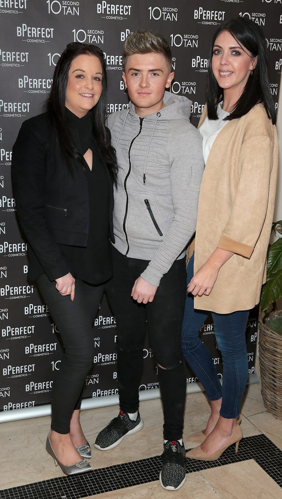 Leanne McDowell, Darren McLaron and Stephanie Bnaniff at the launch of BPerfect Cosmetics 10 Second Tan Mousse in Wilde Restaurant at The Westbury Hotel, Dublin. Photo: Brian McEvoy