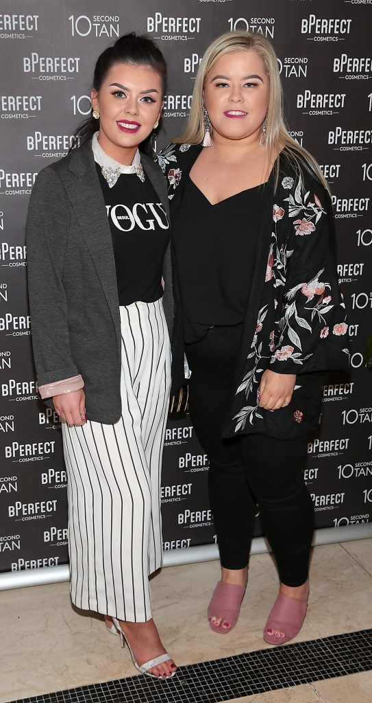 Roisin Doherty and Lucy Curran at the launch of BPerfect Cosmetics 10 Second Tan Mousse in Wilde Restaurant at The Westbury Hotel, Dublin. Photo: Brian McEvoy