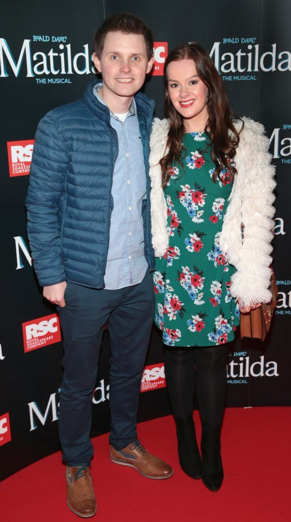 Michael Abraham and Naomi Fleming at the opening night of the musical Matilda at The Bord Gais Energy Theatre, Dublin. Photo: Brian McEvoy