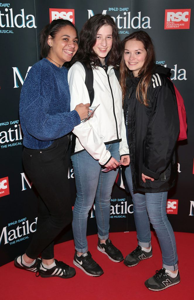 Lea -Lou Laurence, Iris Fourment and Gena Pauline at the opening night of the musical Matilda at The Bord Gais Energy Theatre, Dublin. Photo: Brian McEvoy