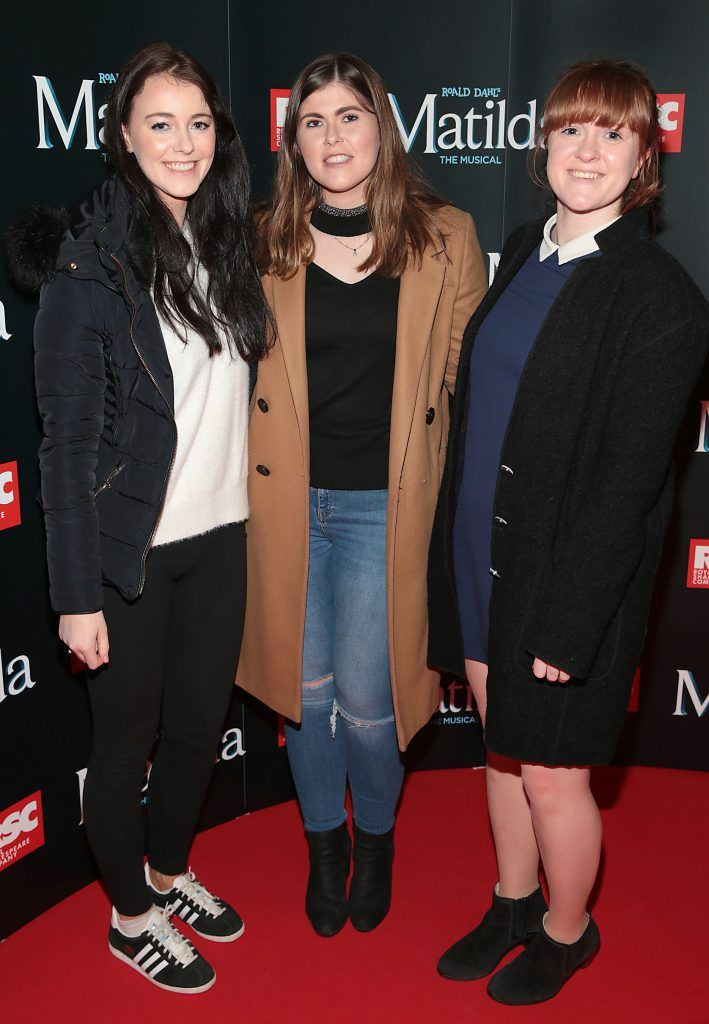 Aine Hanlon, Jenny Moloney and Ciara Murray at the opening night of the musical Matilda at The Bord Gais Energy Theatre, Dublin. Photo: Brian McEvoy