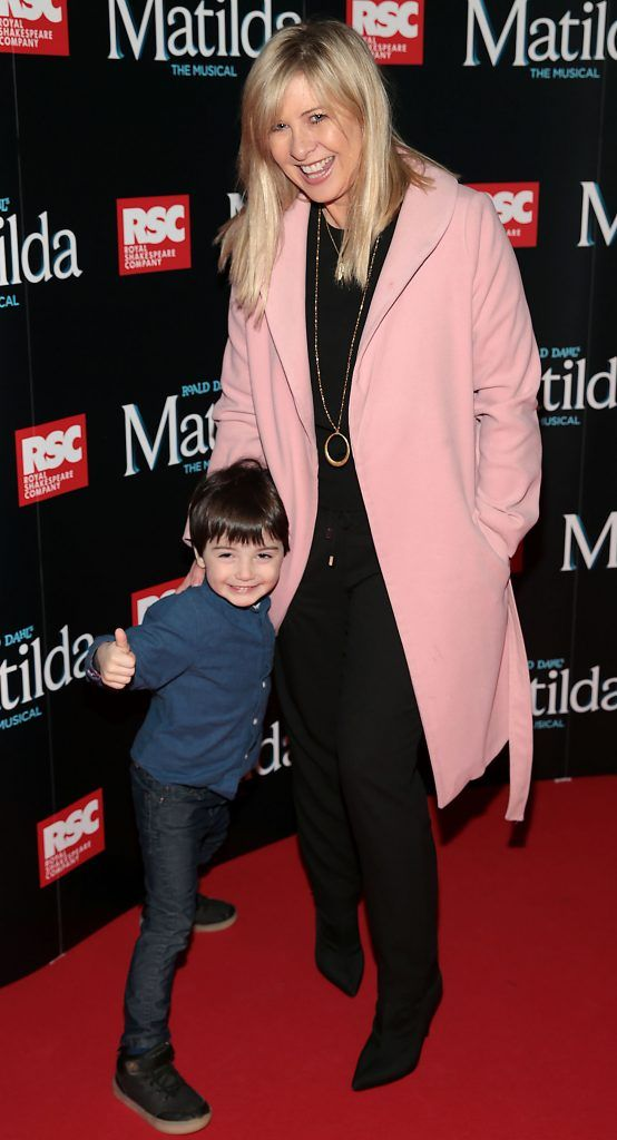Laura Wood and son Alex Arigho at the opening night of the musical Matilda at The Bord Gais Energy Theatre, Dublin. Photo: Brian McEvoy