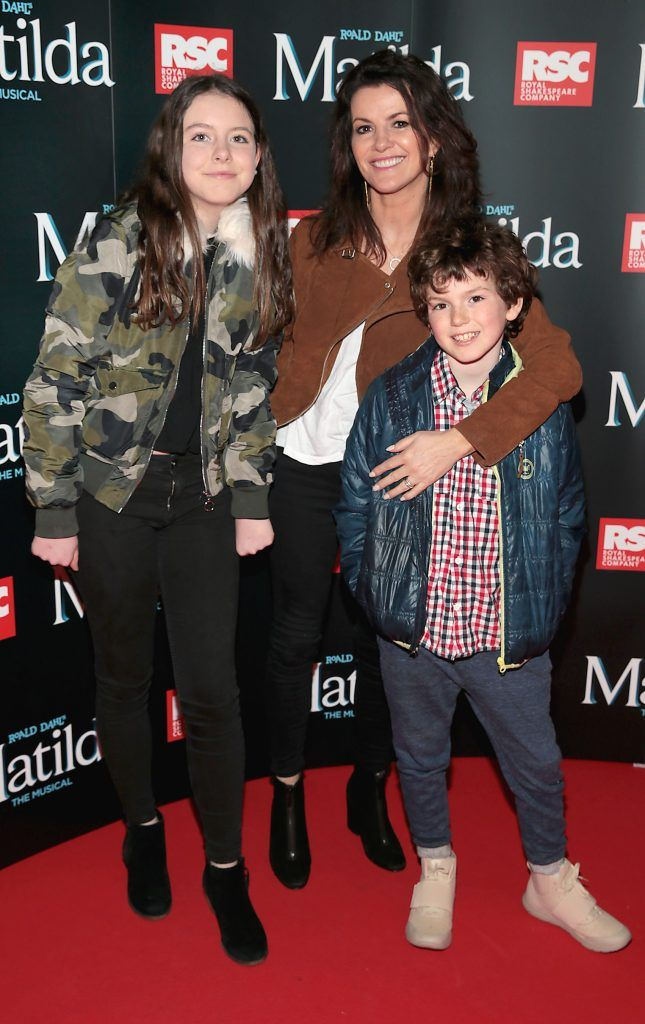 Deirdre O Kane with her children Holly Bradley and Daniel Bradley at the opening night of the musical Matilda at The Bord Gais Energy Theatre, Dublin. Photo: Brian McEvoy
