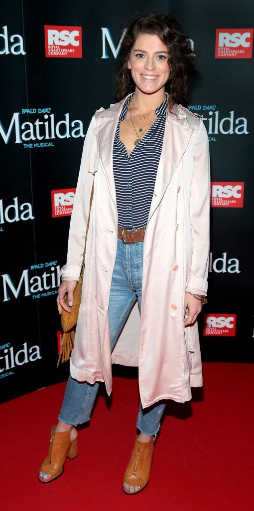 Aoibhinn McGinnity at the opening night of the musical Matilda at The Bord Gais Energy Theatre, Dublin. Photo: Brian McEvoy