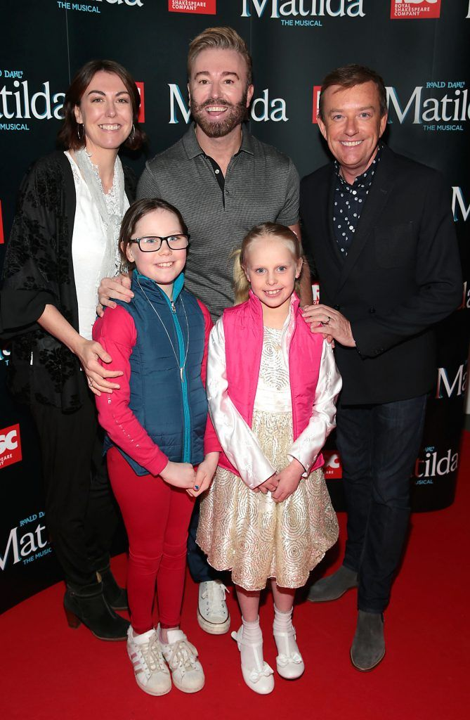Ann Broderick, Karl Broderick and Alan Hughes with Mia Cunningham and Ella Cunningham at the opening night of the musical Matilda at The Bord Gais Energy Theatre, Dublin. Photo: Brian McEvoy