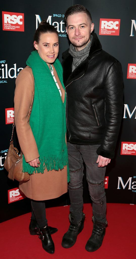 Aoife McClafferty and Feargal Darcy at the opening night of the musical Matilda at The Bord Gais Energy Theatre, Dublin. Photo: Brian McEvoy