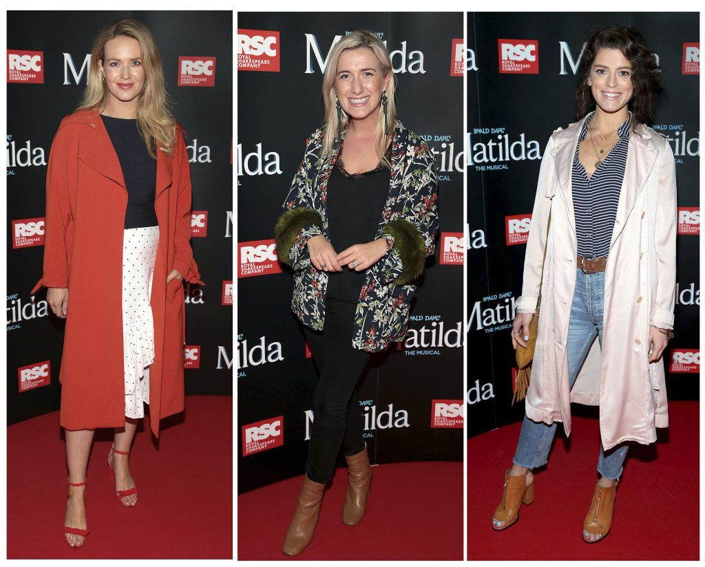 Aoibhin Garrihy, Ciara Doherty and Aoibhinn McGinnity at the opening night of the musical Matilda at The Bord Gais Energy Theatre, Dublin. Photo: Brian McEvoy