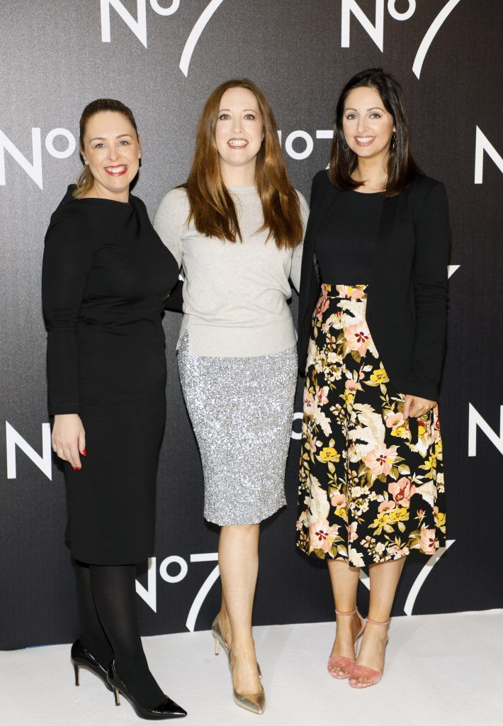 Jacqui Moran, Gillian Hennessy and Siobhán McCaul at the launch of No7 Laboratories and No7 Laboratories Line Correcting Booster Serum at 25 Fitzwilliam Place. Photo Kieran Harnett