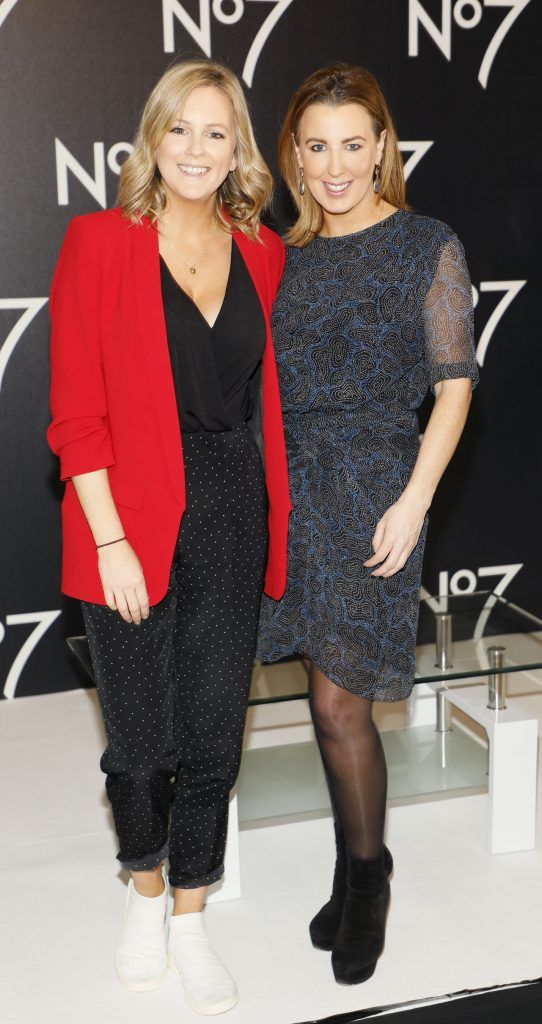 Cassie Stokes and Clodagh Edwards at the launch of No7 Laboratories and No7 Laboratories Line Correcting Booster Serum at 25 Fitzwilliam Place. Photo Kieran Harnett