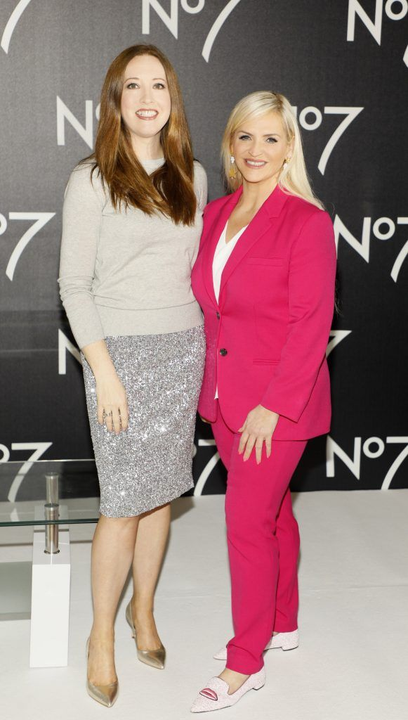 Gillian Hennessy and Melanie Morris at the launch of No7 Laboratories and No7 Laboratories Line Correcting Booster Serum at 25 Fitzwilliam Place. Photo Kieran Harnett