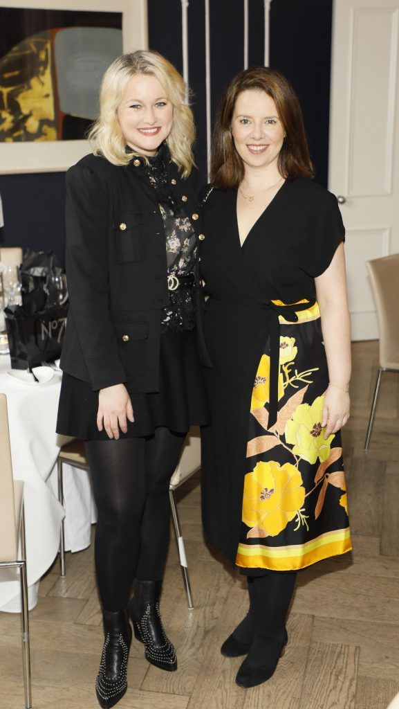 Lorna Weightman and Rosie McMeel at the launch of No7 Laboratories and No7 Laboratories Line Correcting Booster Serum at 25 Fitzwilliam Place. Photo Kieran Harnett