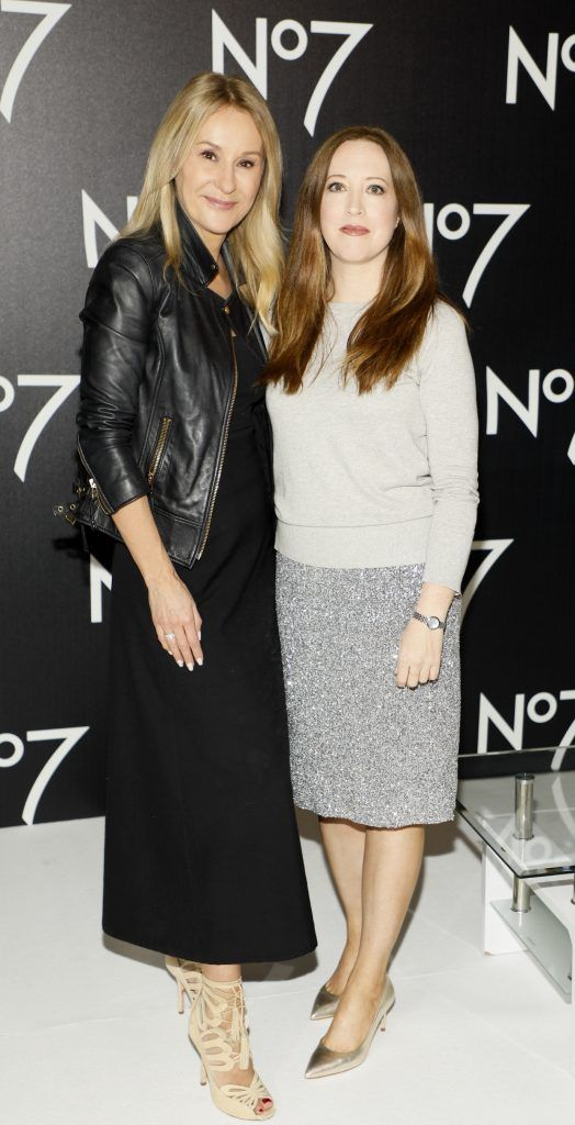Nadine Baggott and Gillian Hennessy at the launch of No7 Laboratories and No7 Laboratories Line Correcting Booster Serum at 25 Fitzwilliam Place. Photo Kieran Harnett