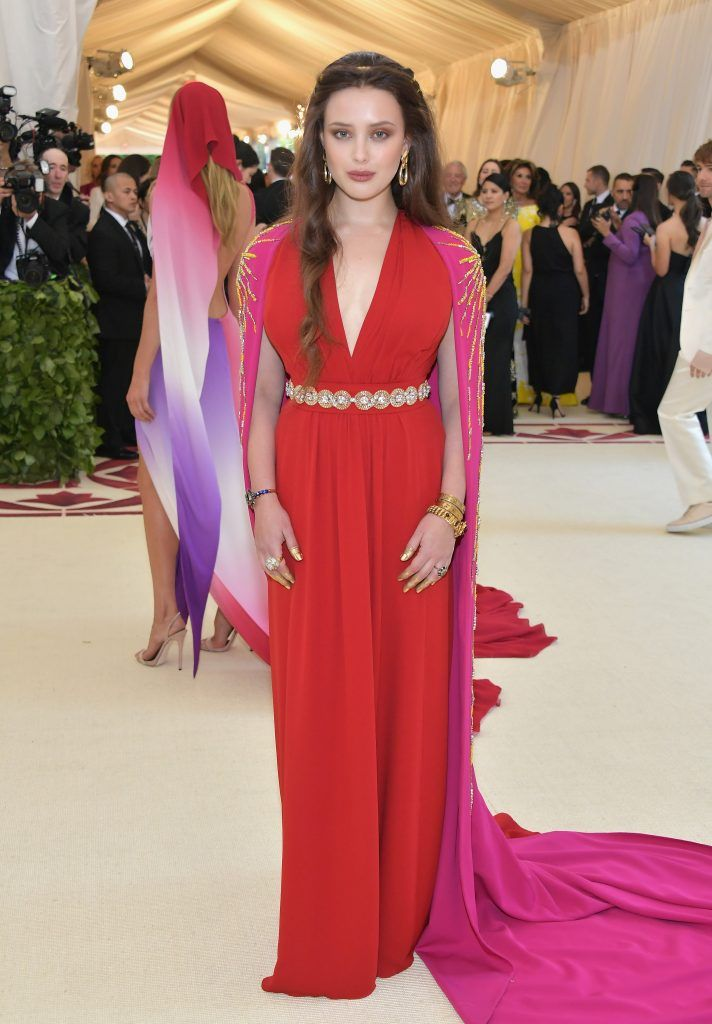 NEW YORK, NY - MAY 07:  Katherine Langford attends the Heavenly Bodies: Fashion & The Catholic Imagination Costume Institute Gala at The Metropolitan Museum of Art on May 7, 2018 in New York City.  (Photo by Neilson Barnard/Getty Images)