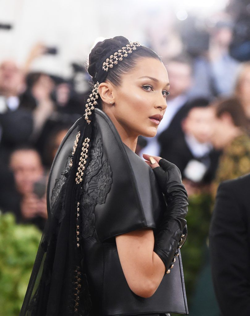 NEW YORK, NY - MAY 07:  Bella Hadid attends the Heavenly Bodies: Fashion & The Catholic Imagination Costume Institute Gala at The Metropolitan Museum of Art on May 7, 2018 in New York City.  (Photo by Jamie McCarthy/Getty Images)