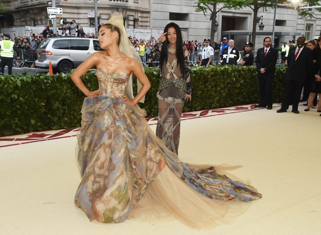 NEW YORK, NY - MAY 07:  Ariana Grande and Vera Wang attend the Heavenly Bodies: Fashion & The Catholic Imagination Costume Institute Gala at The Metropolitan Museum of Art on May 7, 2018 in New York City.  (Photo by Jamie McCarthy/Getty Images)