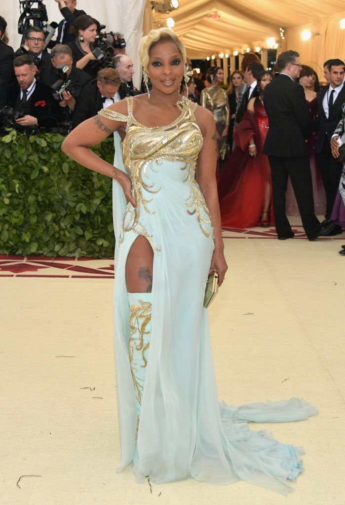 NEW YORK, NY - MAY 07:  Mary J. Blige attends the Heavenly Bodies: Fashion & The Catholic Imagination Costume Institute Gala at The Metropolitan Museum of Art on May 7, 2018 in New York City.  (Photo by Neilson Barnard/Getty Images)