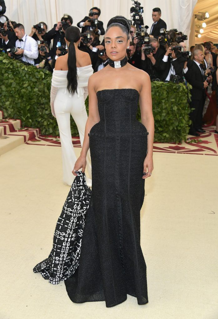 NEW YORK, NY - MAY 07:  Tessa Thompson attends the Heavenly Bodies: Fashion & The Catholic Imagination Costume Institute Gala at The Metropolitan Museum of Art on May 7, 2018 in New York City.  (Photo by Neilson Barnard/Getty Images)