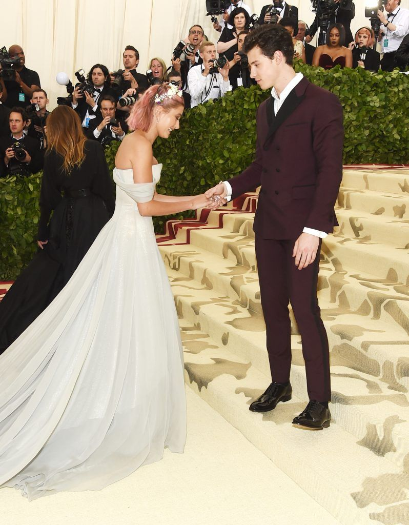 NEW YORK, NY - MAY 07:  Hailey Baldwin and Shawn Mendes attend the Heavenly Bodies: Fashion & The Catholic Imagination Costume Institute Gala at The Metropolitan Museum of Art on May 7, 2018 in New York City.  (Photo by Jamie McCarthy/Getty Images)